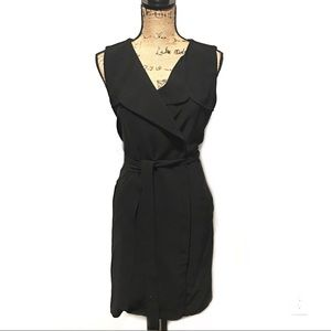 Ann Taylor Dress Wrap Side Button Belted Size 6